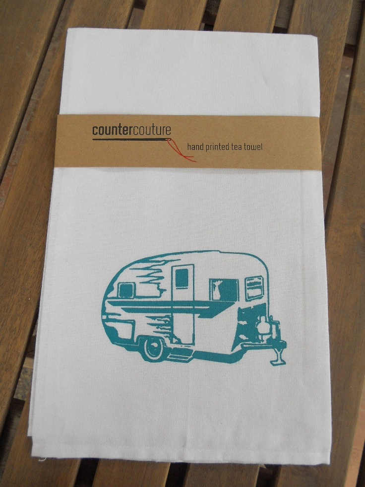 Screen Printed Camper Trailer Kitchen Towel -  Flour Sack Tea Towel- Hand Printed.  Cute!