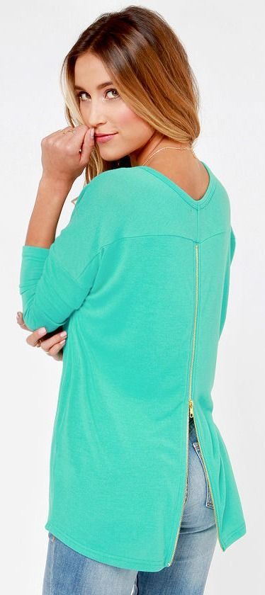 Zip-back Teal Sweater