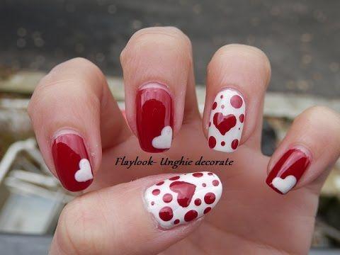 Video tutorial #77 Nail art San Valentino con cuori bianchi e rossi - By Flaylook - YouTube