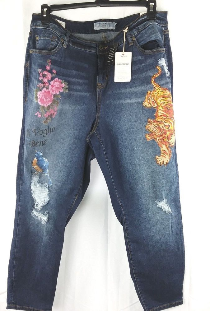 99a44797047 Torrid Denim Women s 18 Regular GirlFriend Distressed Jeans RN  148867 NWT   Torrid  Girlfriend