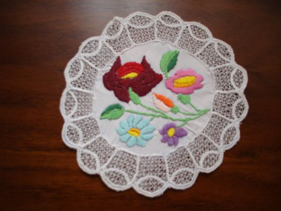 Hand embroidered circular doily by embroiderytrend on Etsy