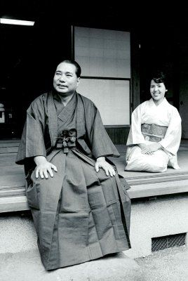 Daisaku Ikeda and Kaneko relax at home dressed in traditional New Year's attire (1973)