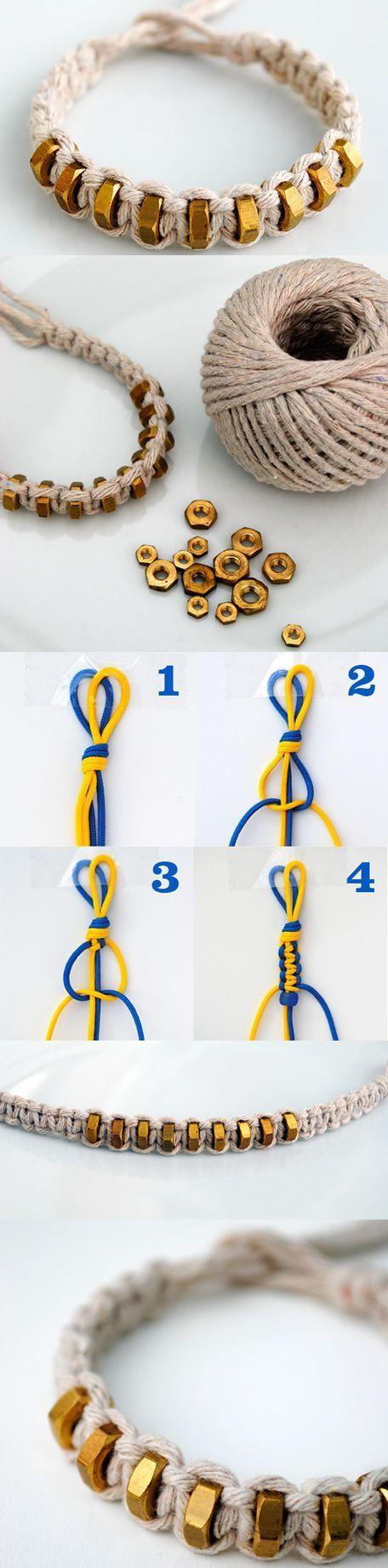 Hexnut Shamballa Bracelet DIY, step by step here  http://tech.beads.us/details-Hexnut-Shamballa-Bracelet-2975.html