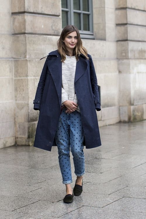 Baby's got the blues.Jeans Boyfriends, Street Style, Outfit, Denim, Fashion Inspiration, Boyfriends Jeans, Polka Dots Jeans, Style Fashion