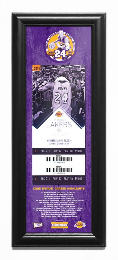 Kobe Bryant Final NBA Game A Ticket to History Framed Print - Los Angeles Lakers