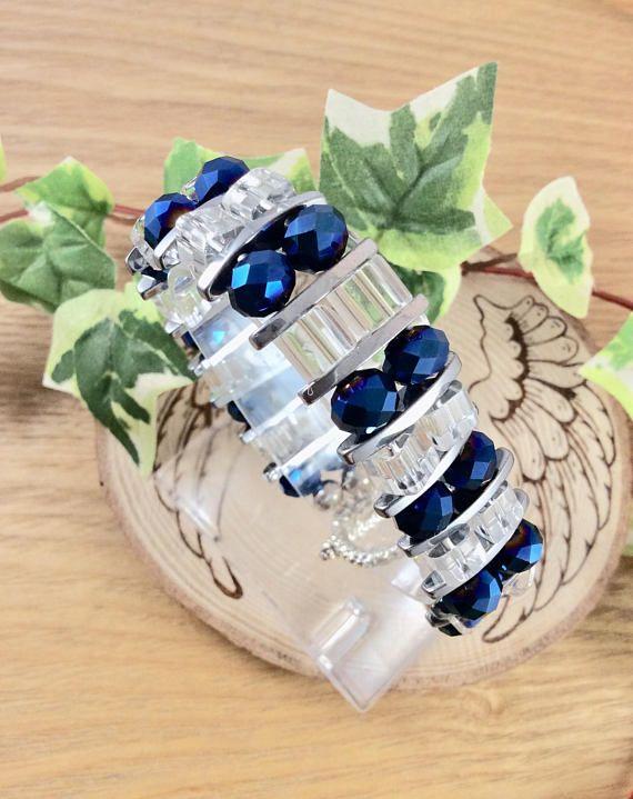 Ladies bracelet, Cuff bracelet, AB, Aurora Borealis, Handmade, Ladies jewellery, Blue Jewellery, Crystal, Glass, Faceted Crystal, Czech