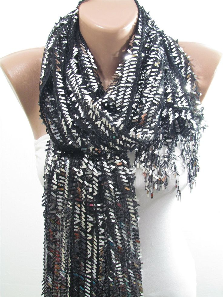 Metallic Gray Sequins on Black Tulle Scarf Sparkle Shawl Scarf Silver Gray Scarf  www.scarfclub.net