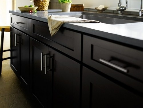 Birch Sable Mission Kitchen Cabinets From Cliqstudios A Gray Formica Countertop And Beautiful Backsplash Perfect