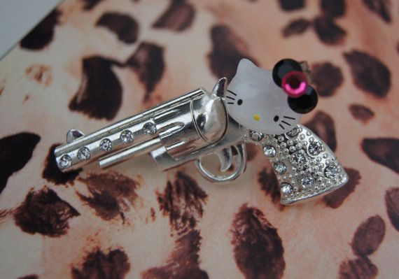 Hello Kitty Gun Ring Two Finger Adjustable Fits by CreativeBinge