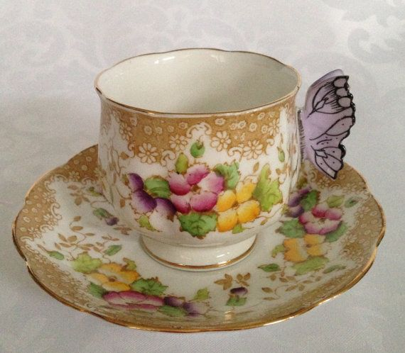 RARE Royal Albert Tea Cup with Butterfly Handle / Fine Bone English China