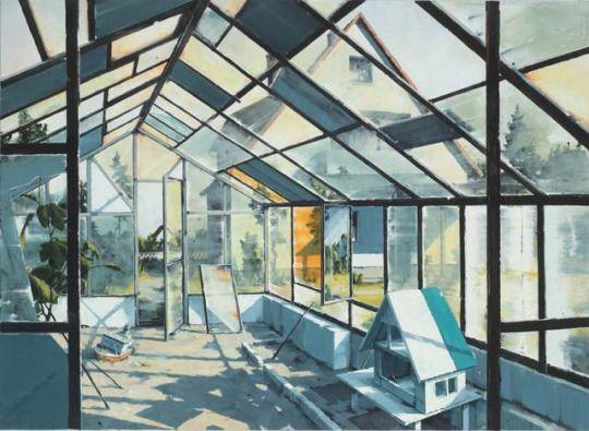 Sven Kroner (German, b. 1973), Gewächshaus [Glasshouse], 2015. Oil on canvas, 160 x 220 cm