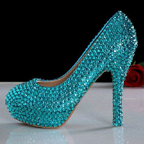 turquoise crystal bridal shoes wedding shoes crystal by lacenbling