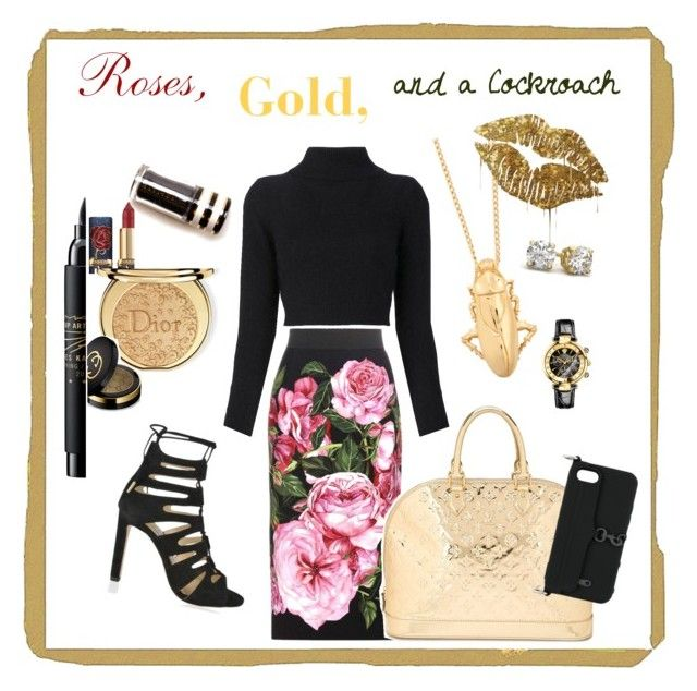 """""""Roses, Gold and a Cockroach"""" by cheryl-muscoe on Polyvore featuring Dolce&Gabbana, Balmain, Jimmy Choo, Balenciaga, Versace, Louis Vuitton, MAC Cosmetics, Christian Dior, Rebecca Minkoff and Gucci"""