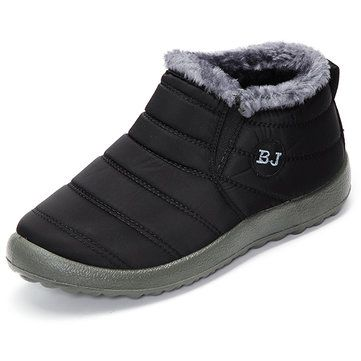 Letter Warm Wool Fur Lining Slip On Flat Ankle Snow Boots For Women