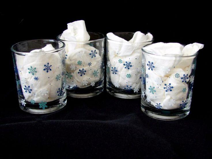 Blue Snowflake Votive Candle Holders Set Of 4 Christmas