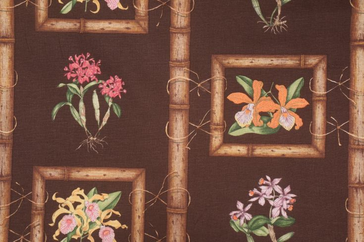 Tropical Drapery Prints :: Samarcand Selections by Ginny Stine 3919-2 Printed Linen Drapery Fabric in Dark Chocolate $9.95 per yard - FabricGuru.com: Discount and Wholesale Fabric, Upholstery Fabric, Drapery Fabric, Fabric Remnants