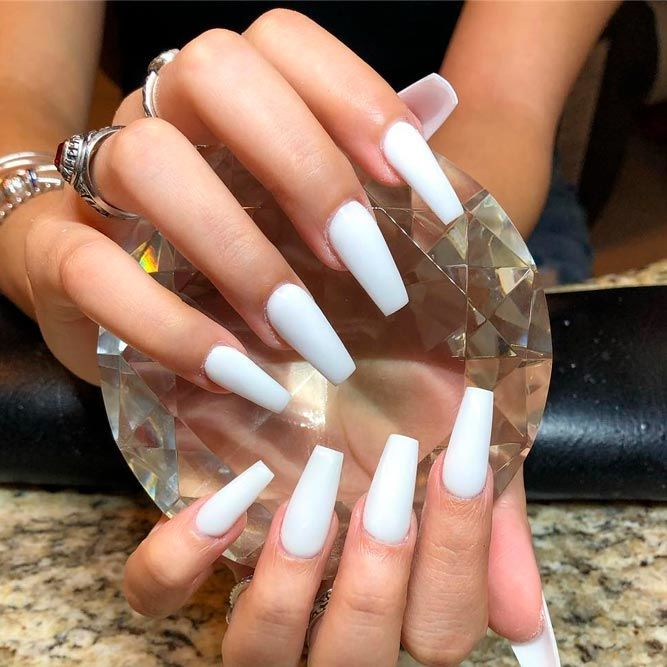 The Most Stylish Ideas For White Coffin Nails Design White