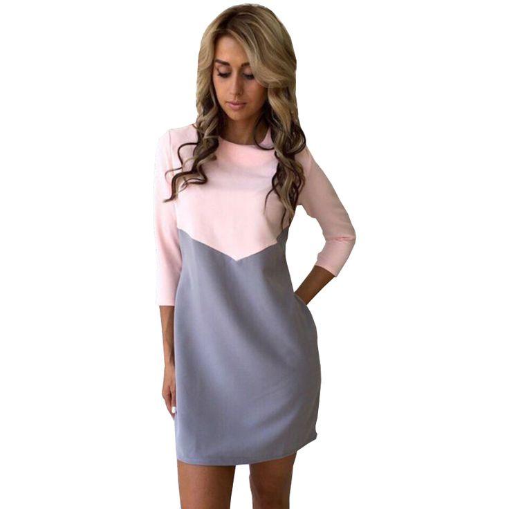 Elegant wit zwart patchwork kantoor dress vrouwen zomer mode casual er kwart mouw ol tuniek jurken dames robe femme