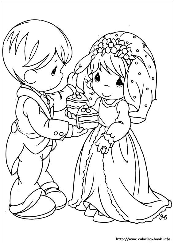 Precious Moments Coloring Page Bride And Groom Sharing Wedding Cake