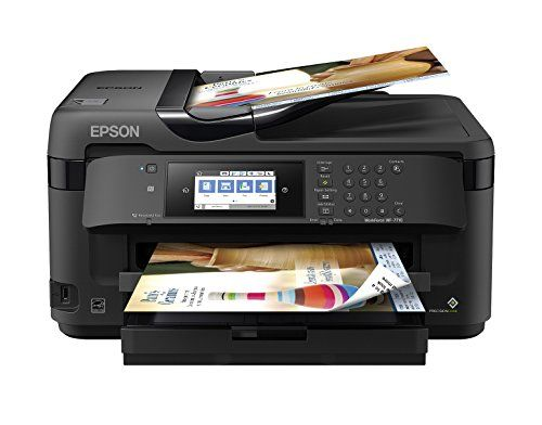 """WorkForce WF-7710 Wireless Wide-format Color Inkjet Printer with Copy, Scan, Fax, Wi-Fi Direct and Ethernet - Powered by PrecisionCore, the WorkForce WF-7710 wide-format all-in-one printer quickly produces print-shop-quality borderless prints up to 13"""" x 19"""" and scans up to 11"""" x 17"""". A versatile inkjet, it features a 250-sheet tray, plus a rear feed for specialty paper, ensuring added productivity for a..."""