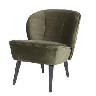 WOOOD fauteuil Sara fluweel warmgroen | Fauteuils | Banken & fauteuils | Meubelen | KARWEI
