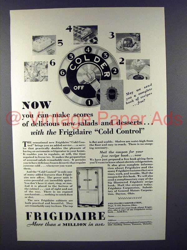 1929 Frigidaire Refrigerator Ad - Cold Control