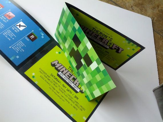 Minecraft Birthday Invitations! I designed and printed for my little guys birthday! I make all kinds of custom invitations plus more! Looking for a custom invitation design for your birthday party theme? Contact me at info@fox-t.com. Thanks!