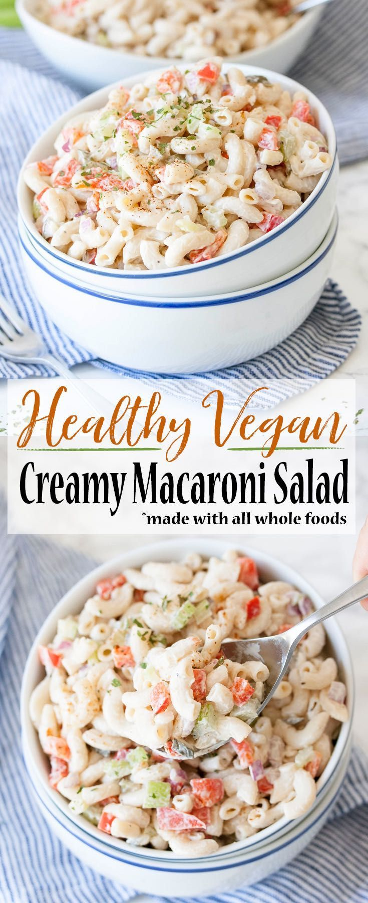 Creamy comfort food gone healthy in this vegan macaroni salad made with all whole food ingredients! Perfect for barbecues, picnics or a night on the couch!