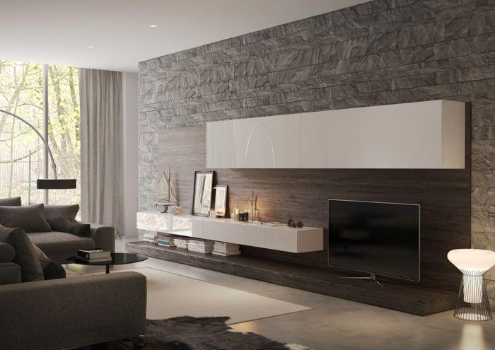 Graue Steinwand Wohnzimmer Weisse Regale Graue Wohnzimmermobel