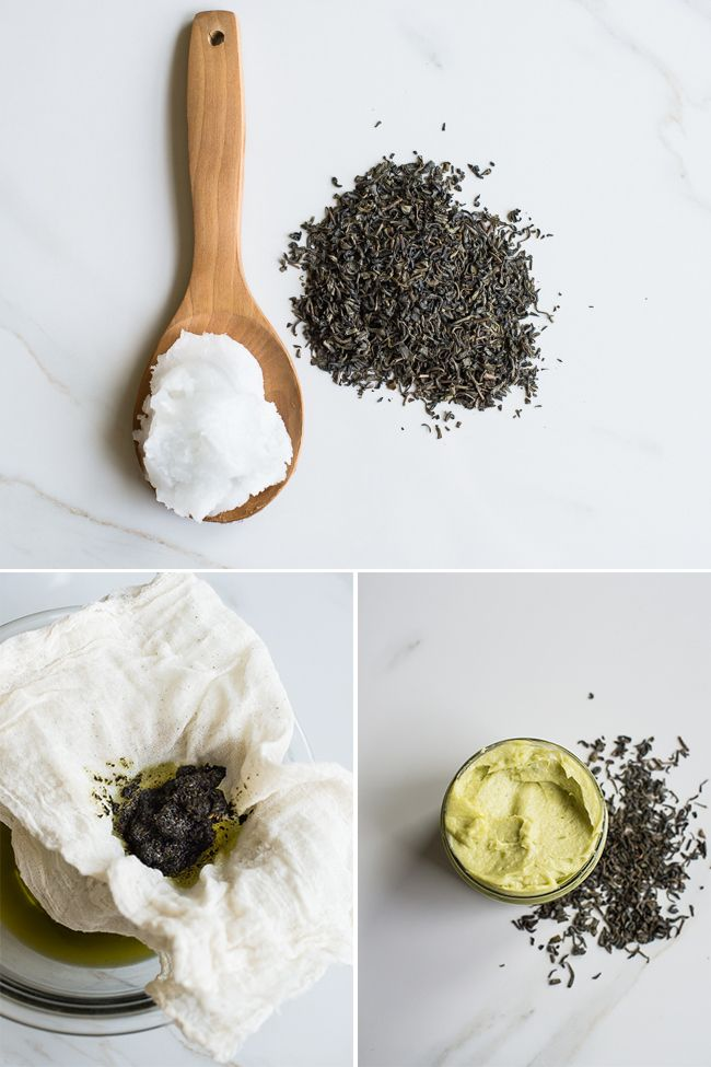 Whipped Green Tea + Coconut Oil Moisturizer | HelloNatural.co  I used leftover peppermint and spearmint from my garden and added a little bit more olive oil to keep it supple.