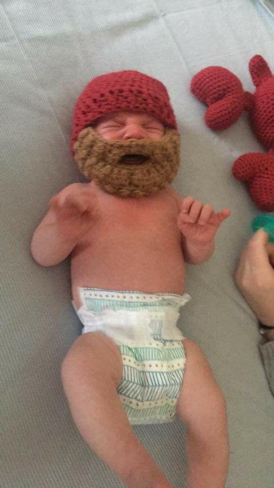 Baby Noah modeling his  Baby Beard Hat