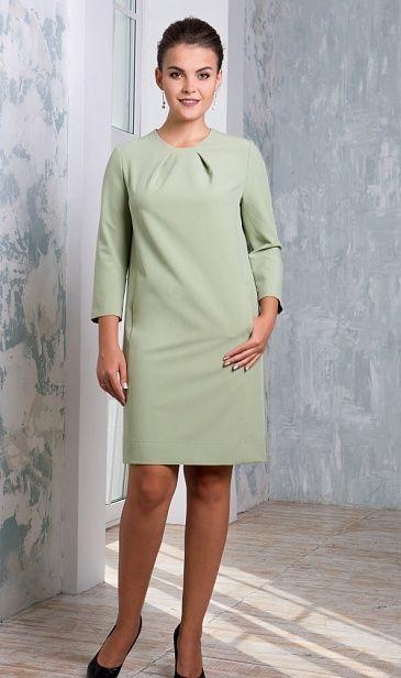 Купить нежно-оливковое платье прямого силуэта в интернет-магазине (цвет: олива)   ВЕЛ-М-336К-03