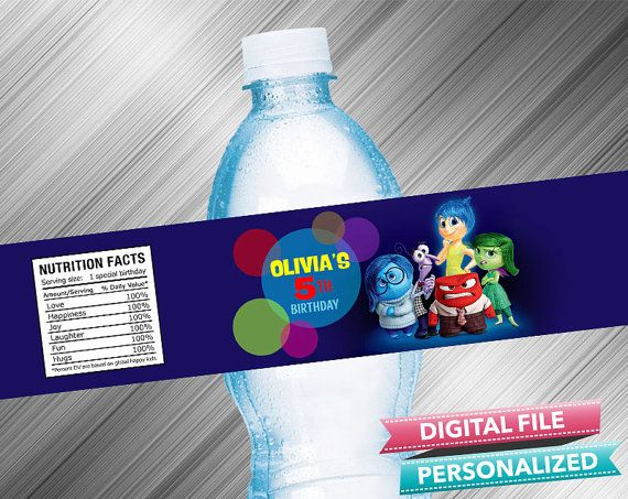 Inside Out Birthday Water Bottle Label by kidspartydiy on Etsy