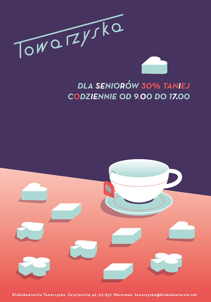 """plakat dla klubokawiarni """"Towarzyska"""" w Warszawie o uldze dla seniorów"""