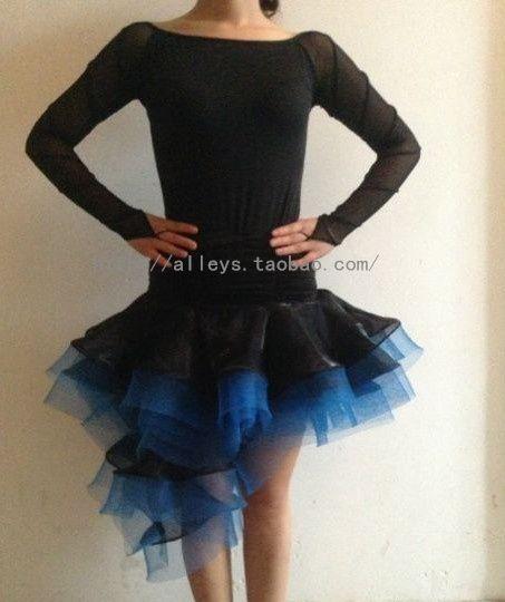 Профессиональный латинский танец синий рыболовная сеть многослойная нерегулярные черный южная корея пряжи средней длины юбка
