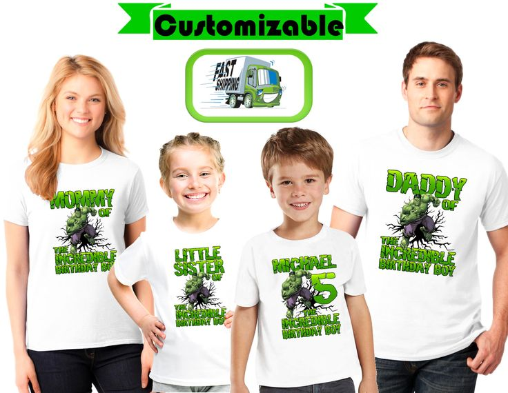 Custom Incredible Hulk Birthday Birthday shirts,for boys, girls.....Next day…