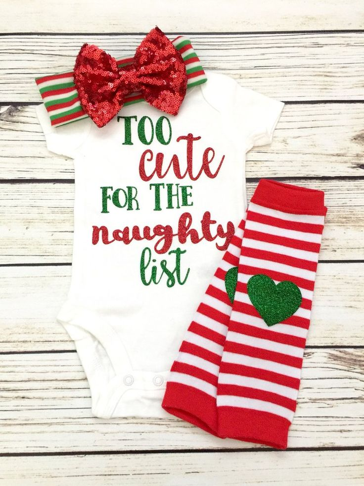 Too Cute For The Naughty List Baby Girl Christmas Outfit | Baby Girl Christmas Onesie Outfit