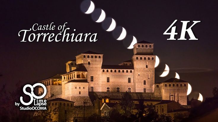 4K Timelapse of the Moonset at the Castle of Torrechiara, Parma, Italy