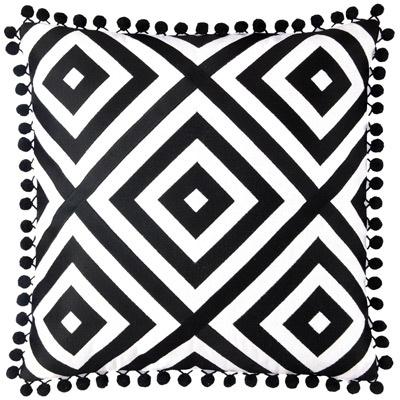 Jennifer Paganelli St. Thomas Black Embroidered #Pillow #decorative #pom: Linen Pillows, Black Linen, Living Room, Black White, Linens, White Pillows, Embroidered Pillows, House