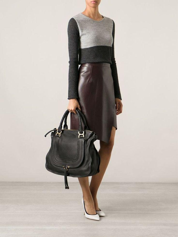 Ss2015 chloe\u0026#39; marcie large tote black porte epaule bag satchel ...