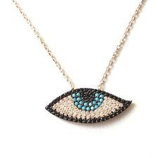 NEW EVIL EYE TURKISH HANDMADE STERLING SILVER NECLACE