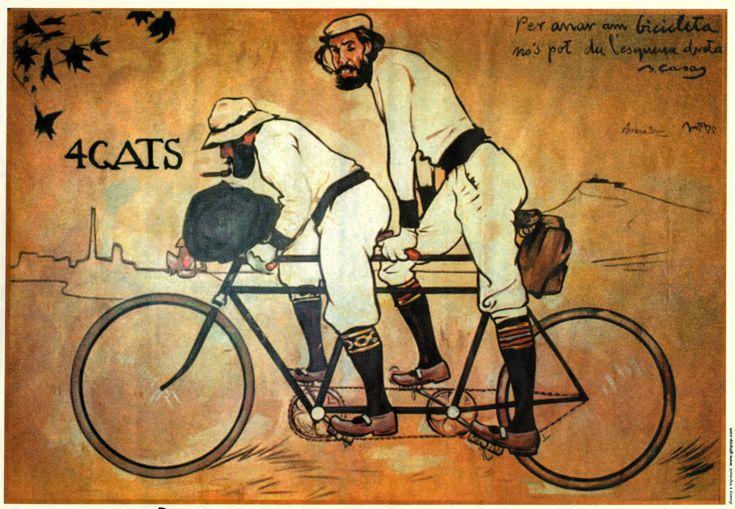 Ramón Casas es la figura clave del modernismo español.   Su primer cartel lo realizo para la taberna modernista Els quatre gats de la que era fundador. Este cartel se titula Sombras quatre gats, en él quiso representar el ambiente y los personajes de las tertulias del local.    En 1899 junto con otros artistas va a fundar la revista Pèl & Ploma, sustituida años mas tarde por la revista Forma (1904).