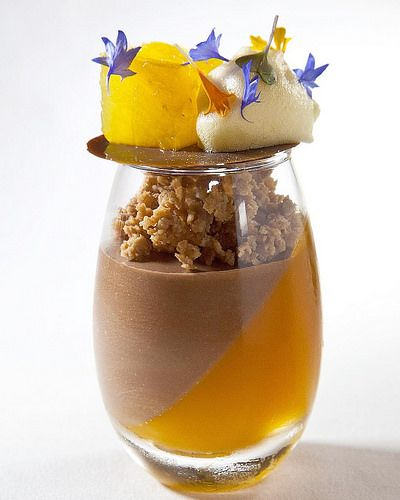 Chocolate Mousse, passion Fruit Jelly, white chocolate crumble, Malibu compressed pineapple and passion fruit Foam photo by @chefsconnection for my class at @forumpasteleria Panama #bachour #bachourclass   Flickr - Photo Sharing!