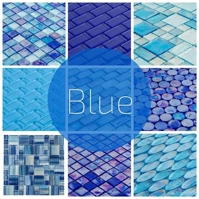 A variety of glass tiles in different tones of blue, shapes, and finishes.