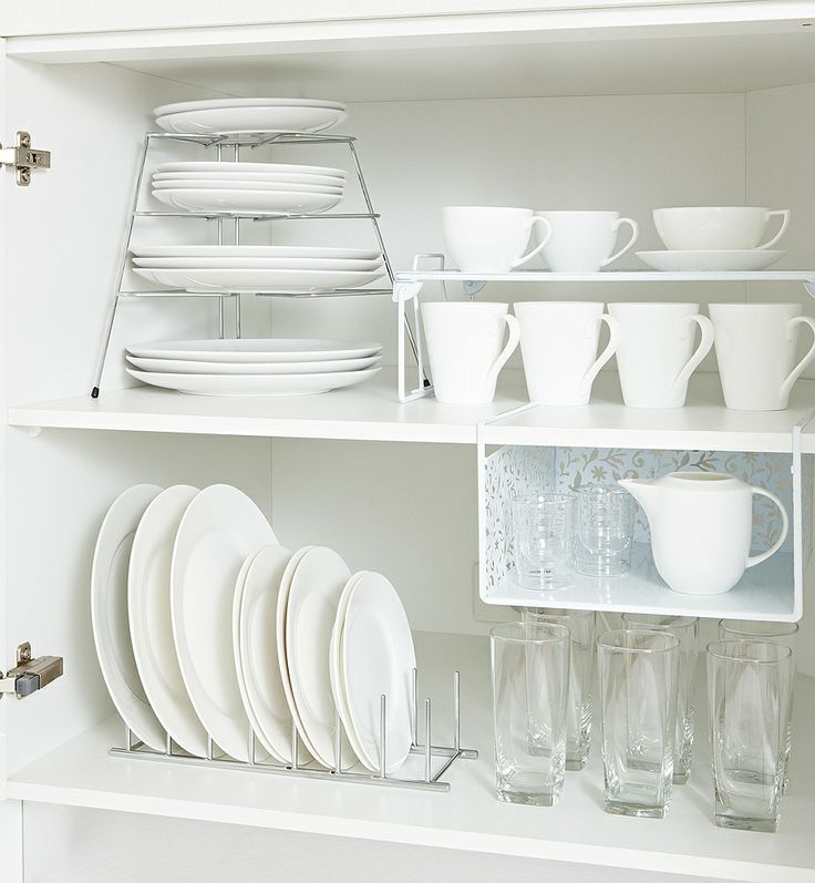 Create Space - For a smaller cupboard where space is at a premium, maximise your visible area using plate stackers (crockery becomes easy to access), shelf helpers (they create another whole layer of storage) and multi-hooks (because you can never have too many hooks!).