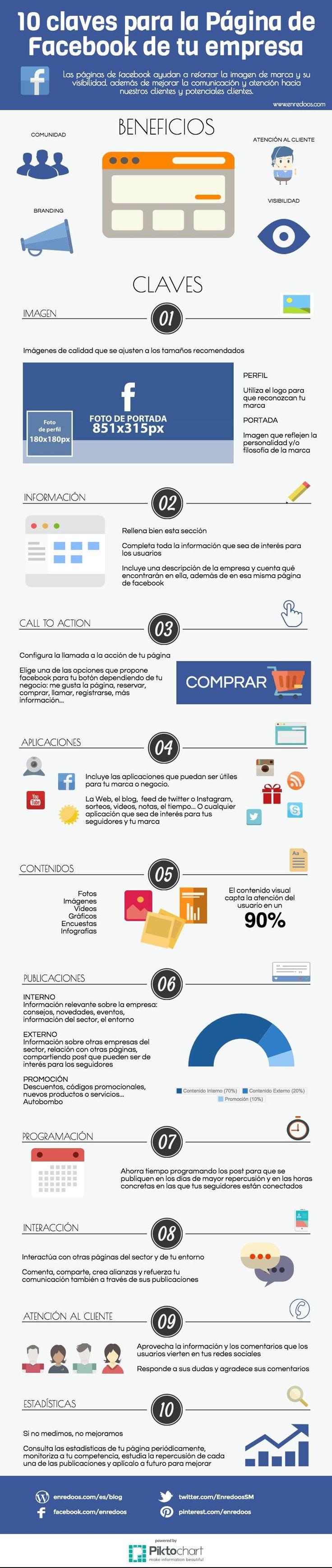 10 Claves para la página de Facebook de tu empresa #infografía #infographic #Facebook
