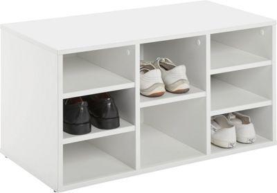 <p>Mit diesem Schuhregal in Weiß geben Sie ihren Schmuckstücken den nötigen Platz! Ca. <b>80x45x40cm </b>groß<b> </b>mit <b>8 Fächern</b> ist das Schuhregal aus Holzwerkstoff ein echtes Platzwunder! <b>5 Einlegeböden</b> sind in der Lieferung mit inbegriffen. Das Regal schafft jedoch nicht nur <b>Stauraum</b>, es ist auch vielseitig verwendbar! Wenn Sie es beim Schuhe Anziehen besonders gemütlich haben wollen, können Sie das Regal auch als Sitzbank nutzen!</p>