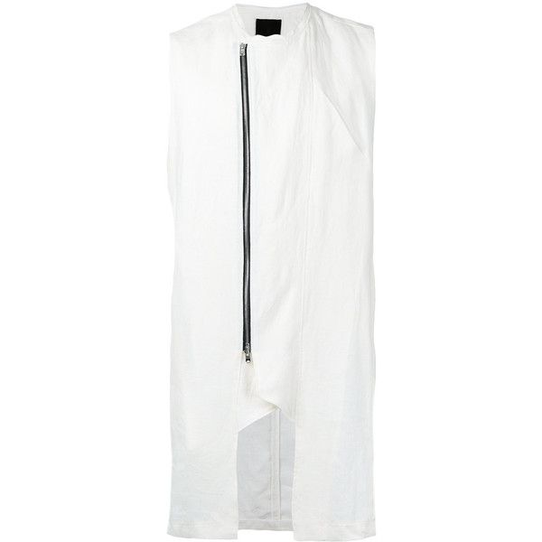 Lost & Found Ria Dunn dislocated zip asymmetric vest (18,885 INR) ❤ liked on Polyvore featuring men's fashion, men's clothing, men's outerwear, men's vests, white, mens zipper vest, mens white vest, mens zip vest, mens vest outerwear and mens vest