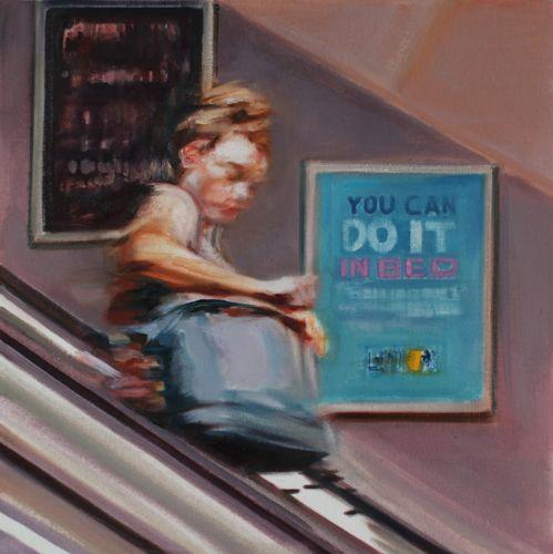 Woman on Escalator by GEORGIA PESKETT