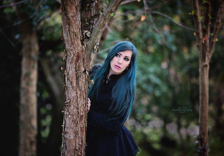 Model: Persephone - Model Photography: Hops Photography #gothic #enchantedforest #bluehair #gothicstyle #gothfashion #gothicfashion #altfashion #altgirl #altmodel #gothgirl #gothmodel #gothicmakeup #wiccan